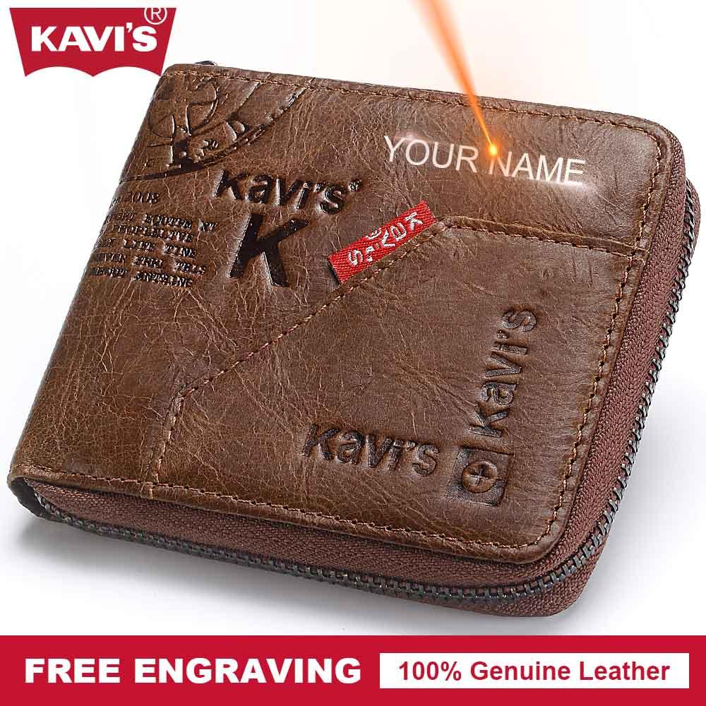KAVIS Genuine Leather Wallet Men Coin Purse Male Cuzdan Small Walet  Portomonee Mini PORTFOLIO Perse Vallet Zipper Gift for Man 979225098597