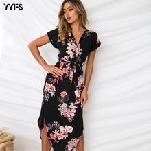 купить YYFS Summer Women Beach Dress 2019 Boho Print Batwing Short Sleeve Tunic Bandage Bodycon Dress Midi Sheath Party Dress Vestidos дешево
