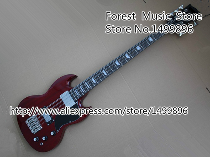 Top Selling Dark Red Electric Bass Guitar 8 String SG China OEM Bass Guitar Body & Kits Left Handed Custom Available china oem firehawk sg electric guitar the left hand guitar red guitar you can change the color ems free shipping