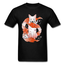 Red Kitsune T-Shirt Men Black Fox Tshirt Japan Style Tops Mask God Anime Print Tee Shirts Slim Fit Cotton Clothes Cheap Sweater