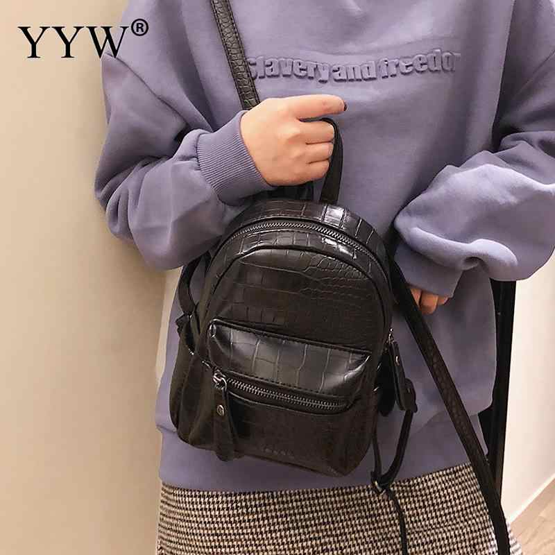 Повседневный женский рюкзак для школьниц-подростков, одноцветная сумка для девочек 2018, рюкзак из искусственной кожи, женский рюкзак, рюкзак цвета хаки, черный