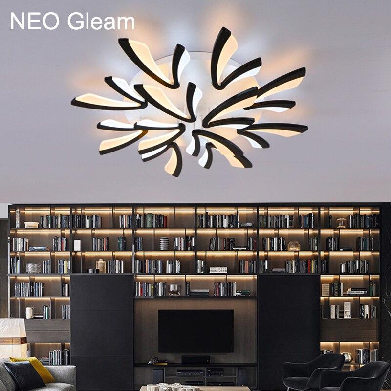 NEO Brilho Acrílico grosso Moderna levaram luzes de teto para sala de estar quarto sala de jantar lâmpada do teto para casa iluminação luminárias