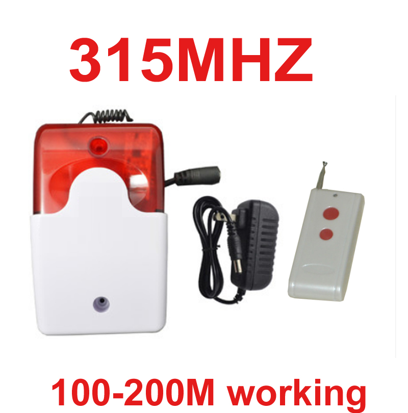 315mhz wireless speaker alarm horn 105dB speaker horn red flashing alarm siren 315mhz wireless 200meter wireless alarm siren ms 490 ac 110v 220v 150db motor driven air raid siren metal horn double industry boat alarm