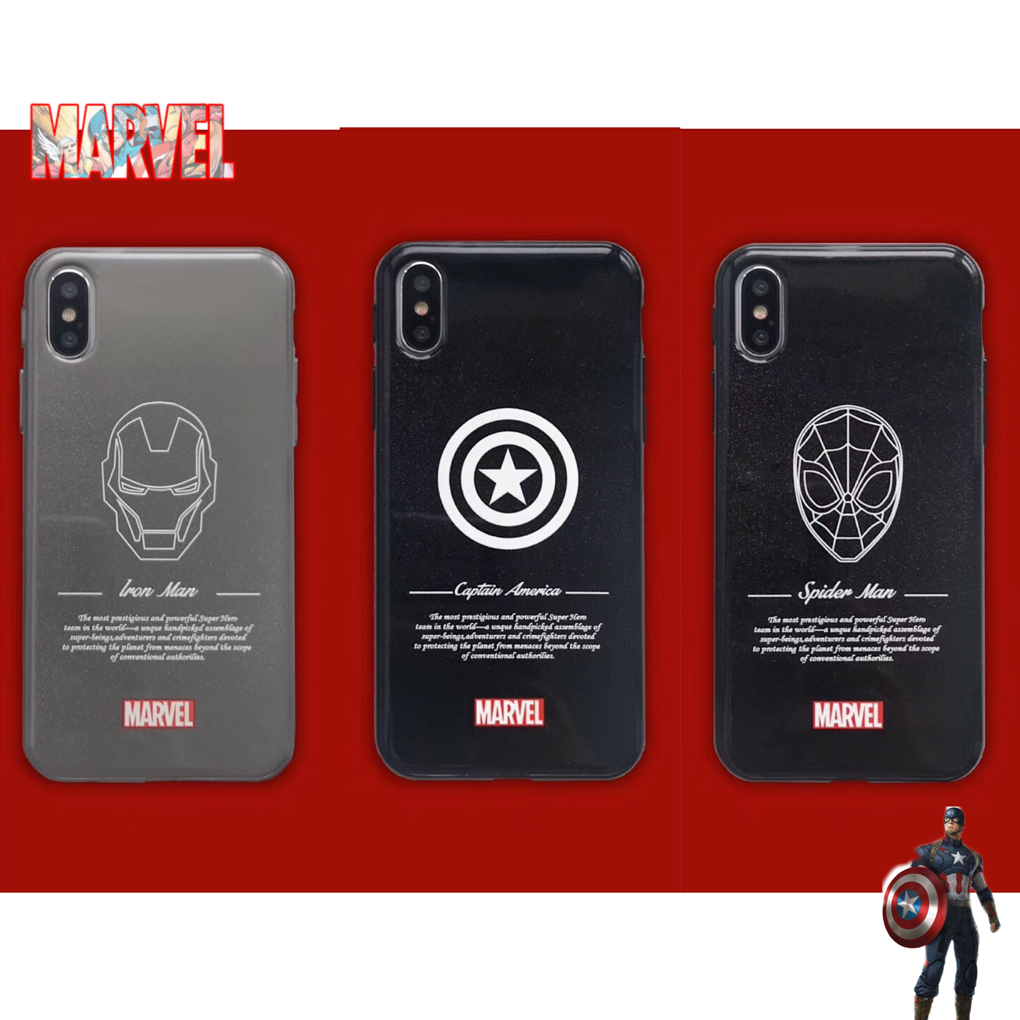 Cool Male Marvel Avengers Strokes Iron Man Batman phone case For iphone Xs MAX XR X 6 6s 7 8 plus Glitter glossy soft back Cover