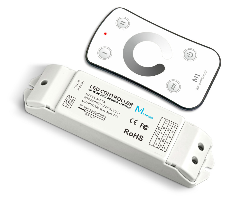 M1+M4-5A;M1 touch remote with M4-5A CV Receiving controller;DC5V-DC24V input;5A*4CH Max 20A output m3 m4 5a m3 touch rf remote with m4 5a cv receiver led dimmer controller dc5v dc24v input 5a 4ch max 20a output