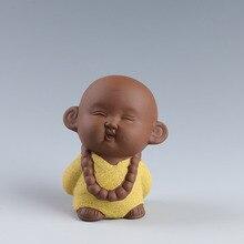 Ceramic Yixing Cute Mini Small Monk Tea Pet Ornaments  Zen Home Furnishing Desktop Decoration Home Decoration Accessories