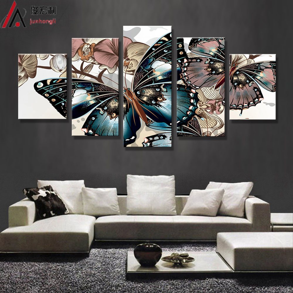 Hd printed abstract floral butterfly painting on canvas for Abstract decoration