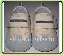 baby boy toddler beige+blue leather soft sole shoes handsewing wholesale retail free shipping