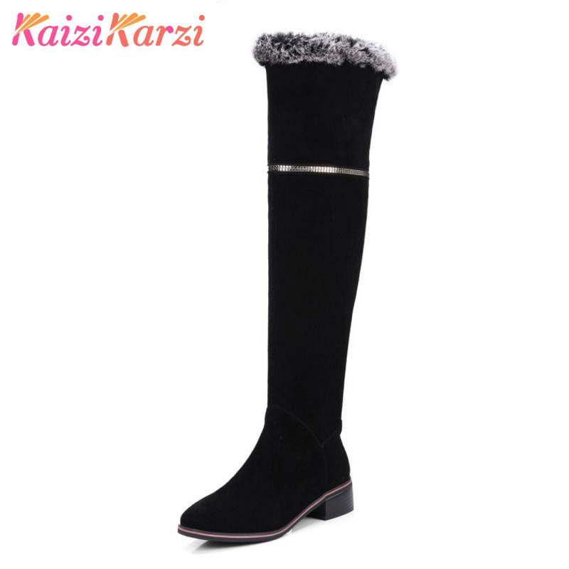 KaiziKarzi Winter Shoes Women Real Leather Thick High Heel Over Knee Long Zip Boots Women Thick Fur Warm Botas Size 33-41 coolcept size 31 45 warm winter boots for women real leather over knee long boots women rivets thick high heels warm botas