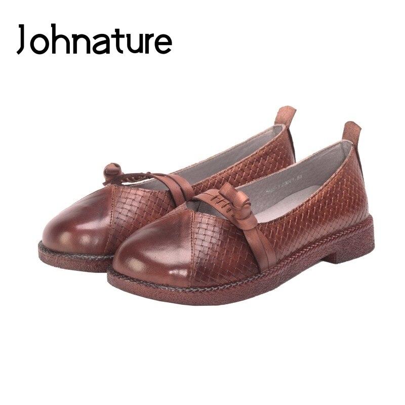 Johnature 2019 nouveau printemps/automne mocassins décontractés en cuir véritable bout rond rétro boucle peu profonde sans lacet appartements femmes chaussures