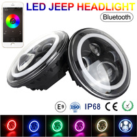 2pcs 7 Inch 58W 3600LM Round LED Headlights Halo Ring support Phone Bluetooth App Controlled for Jeep / SUV