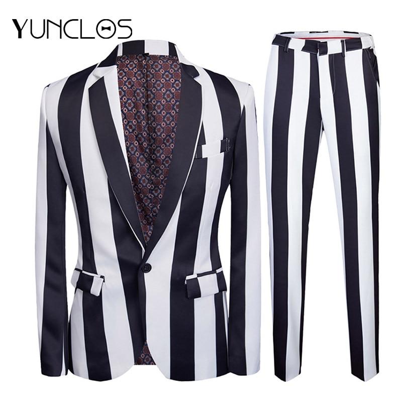 YUNCLOS  New Men's Strip Printed Suits Slim Fit Party Suits 2 Pieces Jacket & Pant Prom Suits Men Performance Suits