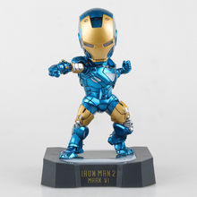 HKXZM Movie Figure 18CM Egg Attack Iron Man Mark VI Blue Iron Man with LED Light PVC Figure Collectible Toy Model Gift(China)