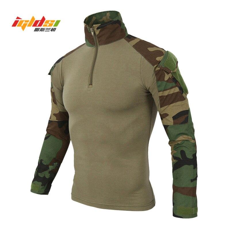 Military Camouflage Combat Shirt Männer Langarm Paintball Kleidung Taktische Shirts Multicam Uniform Frosch Anzug T-shirts S-2XL