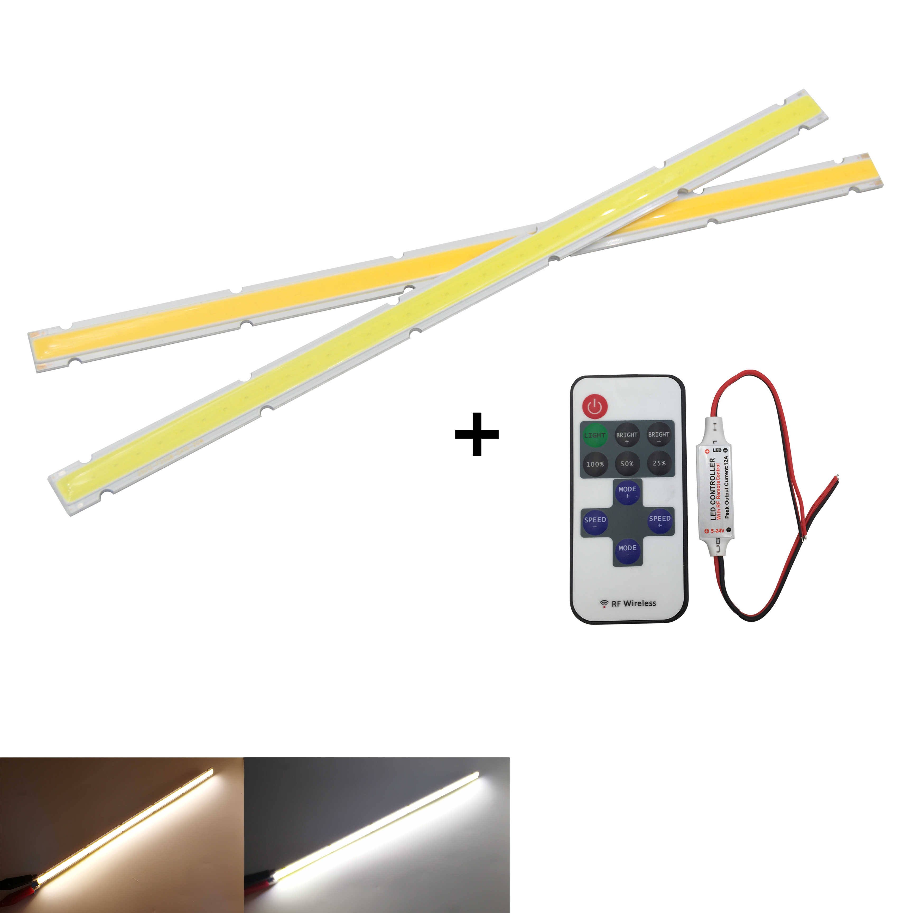 12V DC dimmable LED COB Strip 250x12mm Bar Light Source Lamp with remote controller Warm White 10W LED FLIP Chip for DIY auto