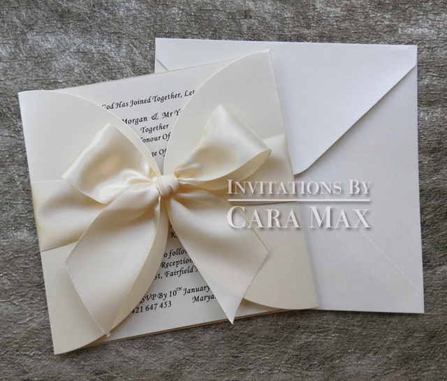 ca0703 simple ivory wedding invitations with big bow - Ivory Wedding Invitations