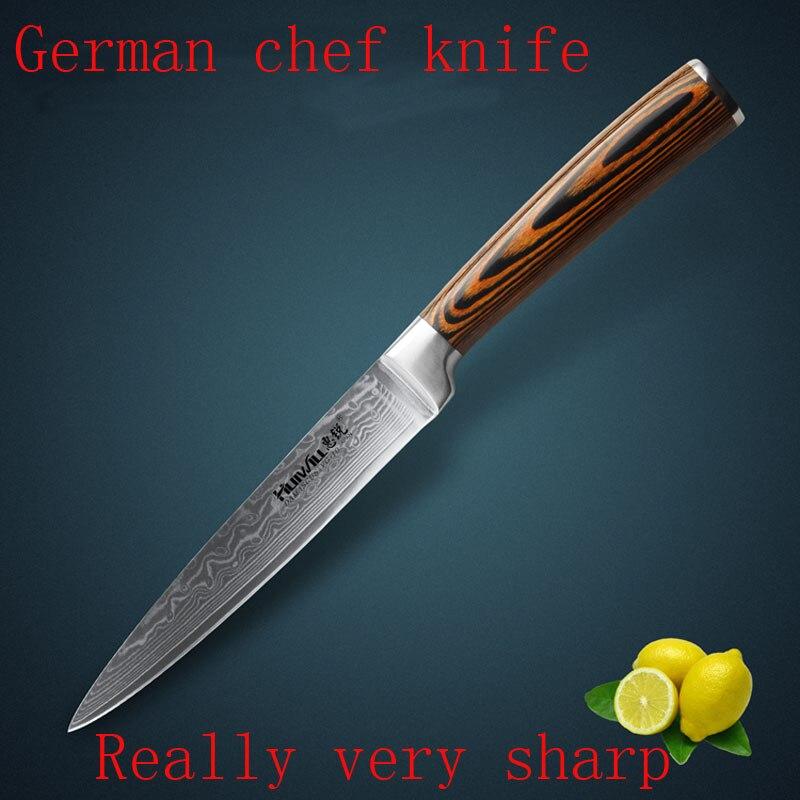 2017 5 Damascus Steel Kitchen Chef font b Knife b font multifunctional Stainless Steel Janpanese Fruit