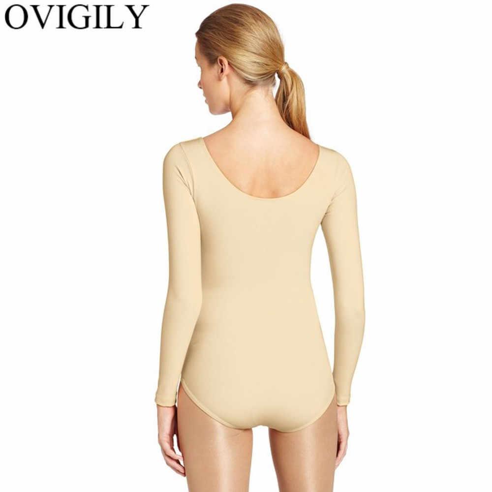 OVIGILY открытые гимнастические трико для женщин из нейлона и лайкры с длинными рукавами балетный купальник для танцев одежда тренировочные Топы боди для девочек