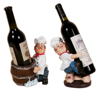 Creative European Resin Wine Rack Chef Figurines Wine Stand Holder Whisky Wine Cabinet Decor Bar Kitchen Shelf Accessories LF459