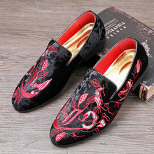 Designer Shoes Leather Embroidery Flower Sneakers Men Casual  Velvet Loafers Dress Flats Wedding Shoes Moccasins Men deification mocassin homme red flower embroidered mens flats loafers velvet slippers comfortable leather shoes men wedding shoes