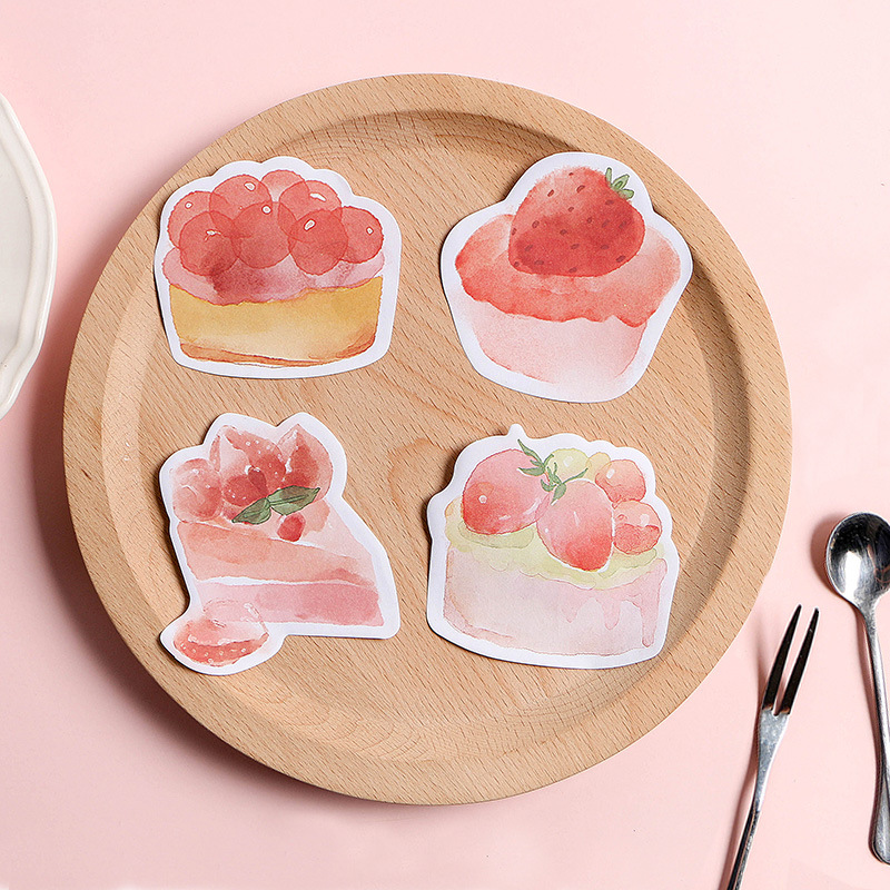 30 Pages/pack Sweet Cherry Tart Strawberry Cup Cake Peach Mousse  Memo Pads Sticky Notes Planner Writing Sticker Student Supply