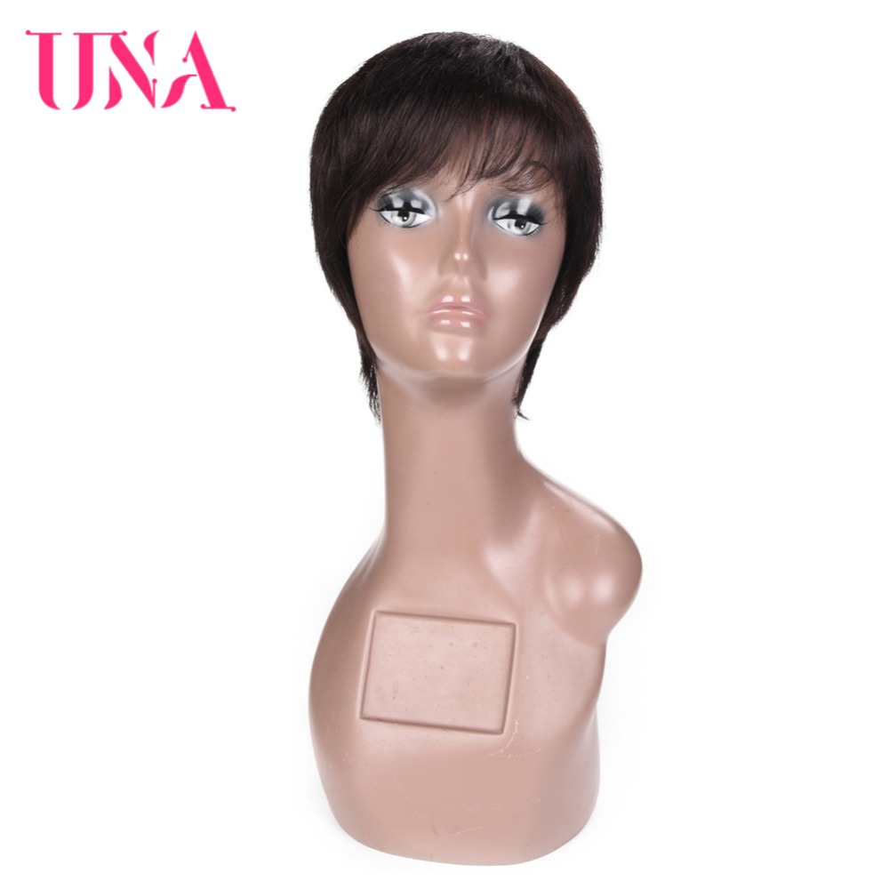 UNA Short Straight Wigs Remy Indian Hair 120% Density Color #1 #1B #2 #4 #27 #30 #33 #99J #BUG #350 #2/33