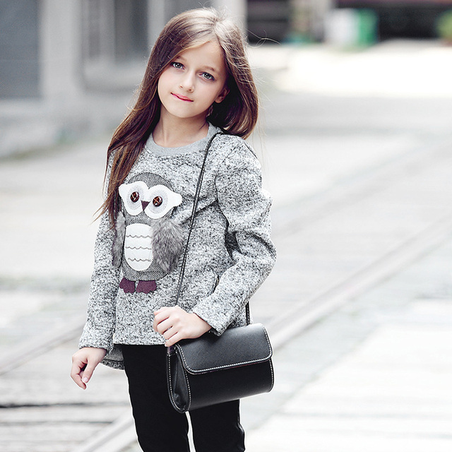 Sweater For Girls Kids Toddler Girsl Sweaters Pullover for Winter Autumn 2018 Clothes Cute Owl Warm Fleece Lined with Zipper 2