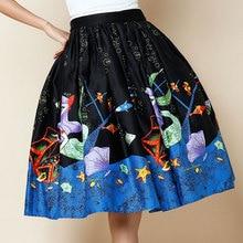 vintage 50 mexican high waist Pocket swing circle midi skirt cotton plus size 4xl saia femininas faldas pin up rockabilly skirts
