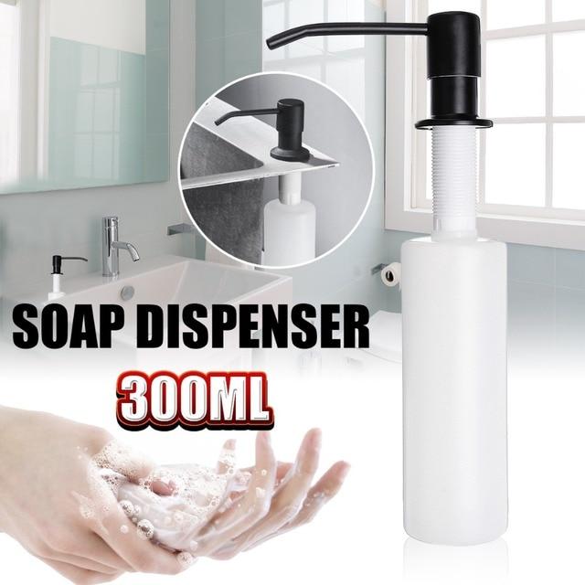 300ml Kitchen Sink Countertop Liquid Soap Dispenser Built In Hand Pump Stainless Steel Head