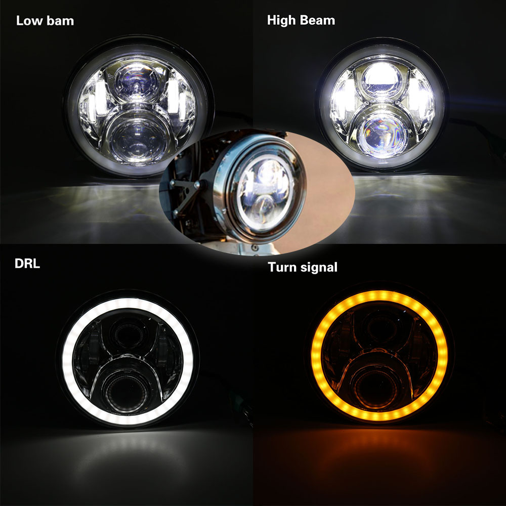 Set Motorbike Accessories 7 Turn Signal DRL Angel Eye Headlamp for Harley Softail Touring Daymaker 7 Inch Round LED Headlight (1)
