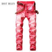 DANT BULUN Dropshipping High Quality Retro Mens Jeans Washed Slim Skinny Biker Classic Casual Denim Male Red Gray Trousers