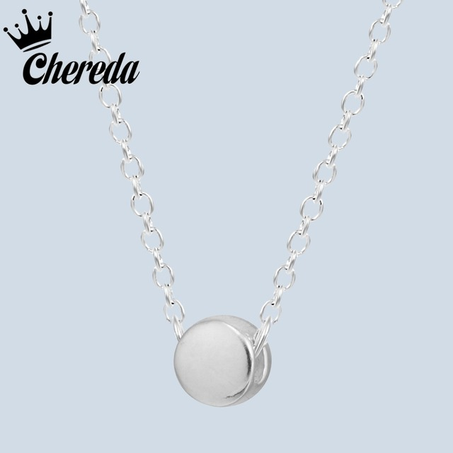 0b0d7ad1ecfba Chereda 925 Sterling Silver Round Shape Necklaces Link Long Chain Small  Fine Pendant Wedding Engagement Party
