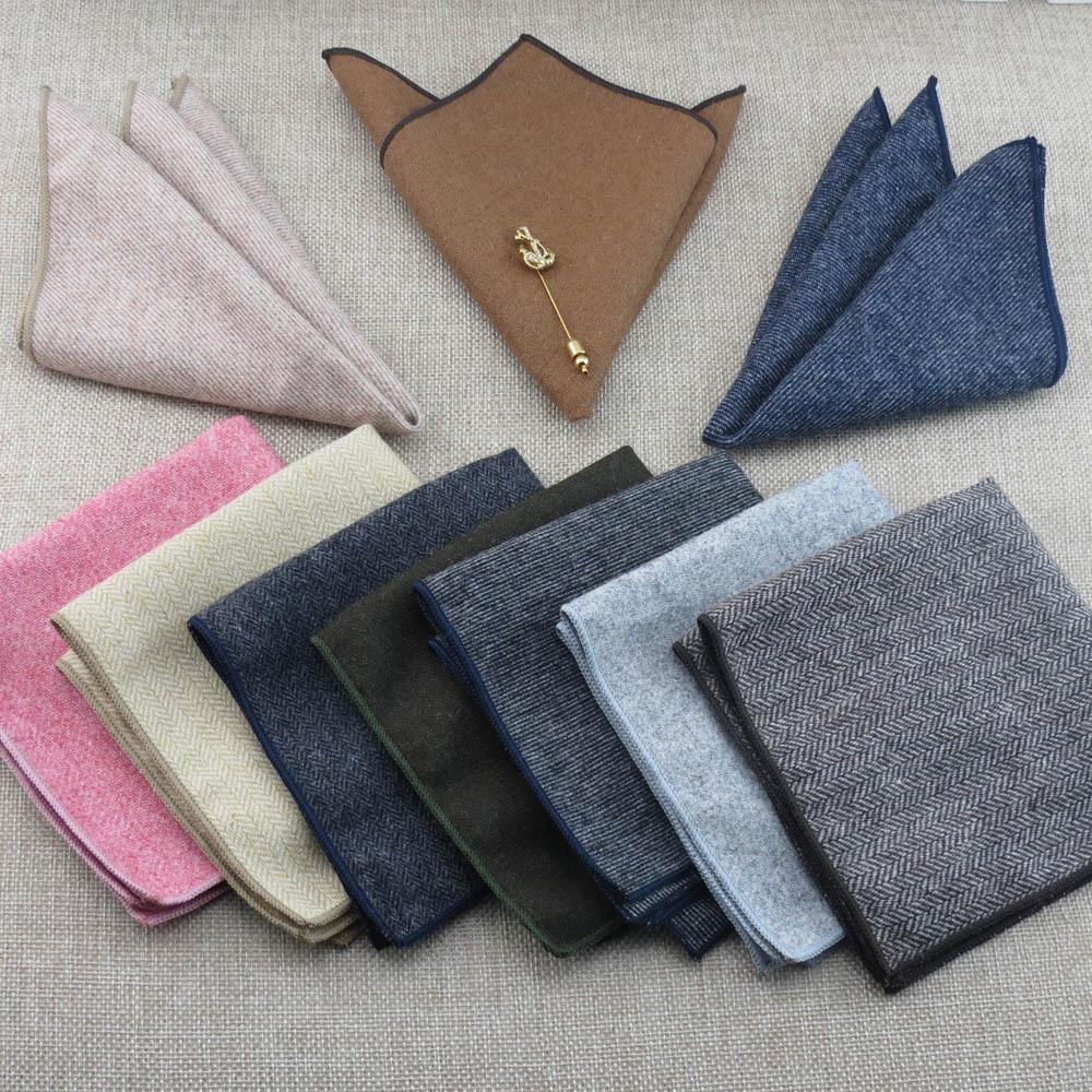 Feliavert Mens Suits Pocket Square Hankies High Quality Men Wedding Casual Suit Pockets Hanky 24*24cm Fashion Wool Handkerchief