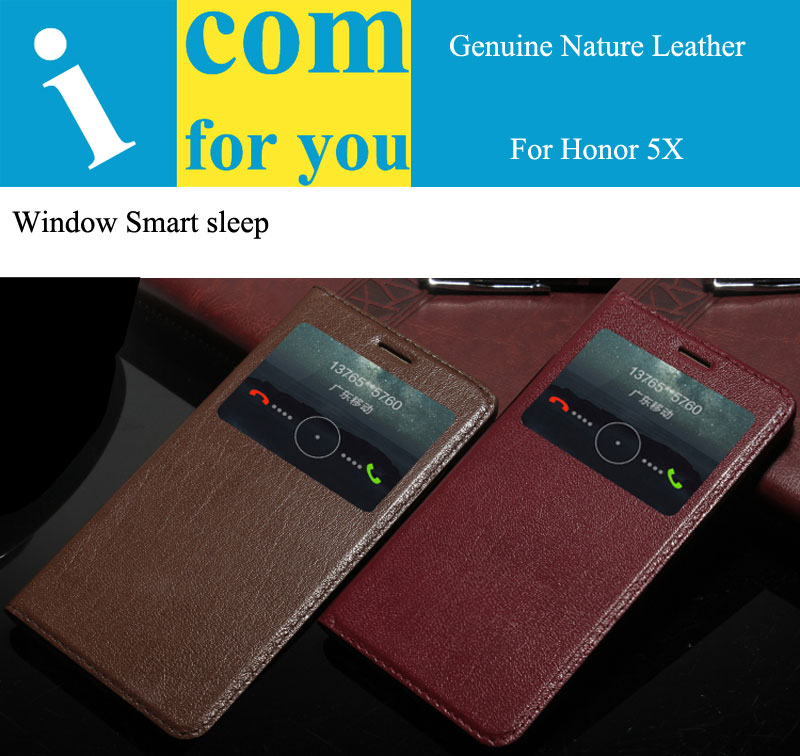 imágenes para Cubierta del tirón del cuero genuino real natural case para huawei honor 5x gr5 libro wallet funda para