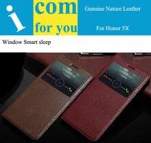 Подлинный реальный натуральная Кожа Откидная крышка case для Huawei Honor 5X GR5 Книга Бумажник Funda Para