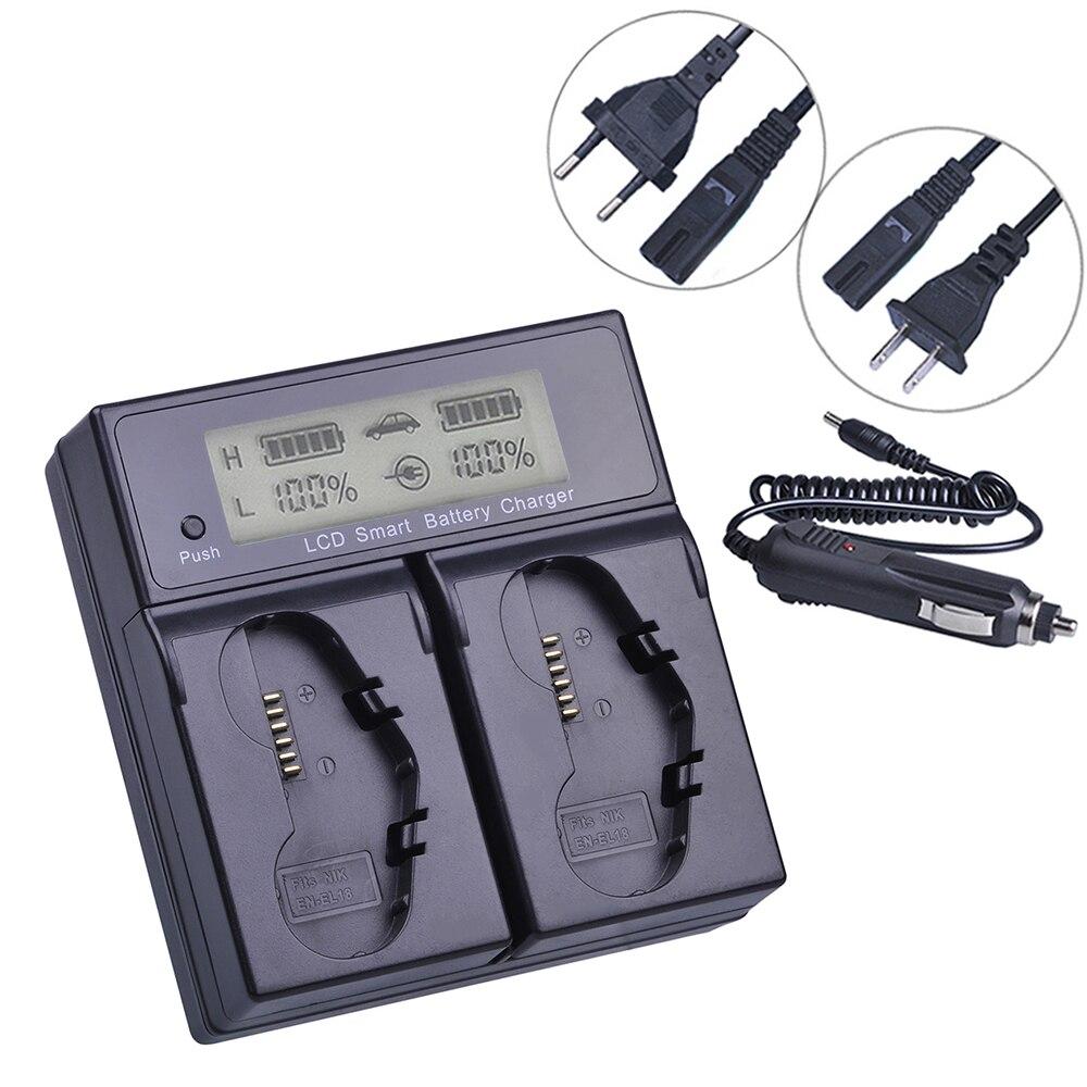 LCD Dual Fast Battery Charger for Nikon EN-EL18b EN-EL18a D4 D4S D5 and D800 D800E D810 D810A Battery Grip