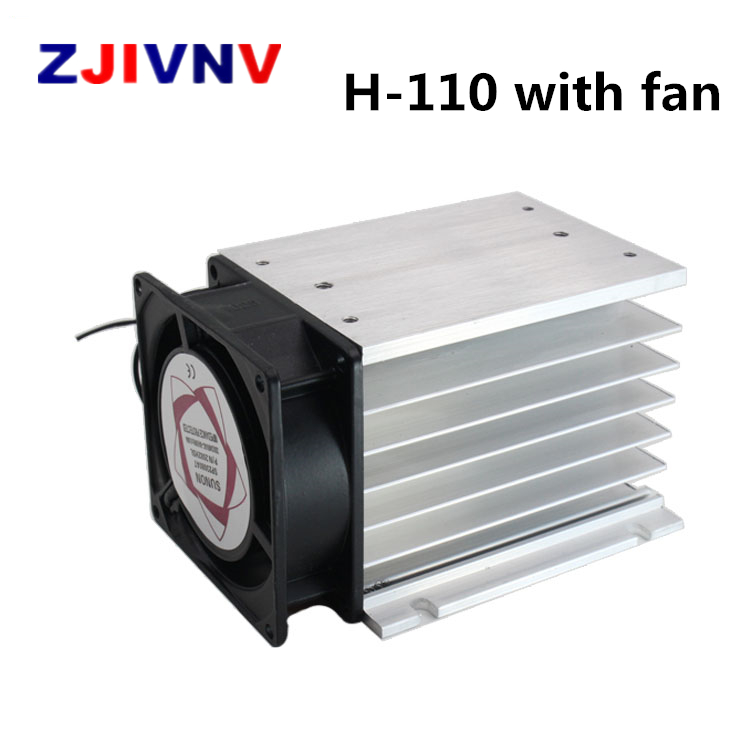 H-110 110*100*80 mm 60A three phase solid state relay SSR aluminum heat sink radiator with 220VAC fan and protective cover