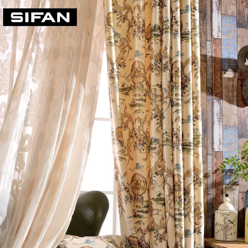 Luxury Printing Curtains Balloon Window Curtains For Living Room Bedroom Curtains Drapes Velvet