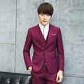 Gentleman estilo sección Delgada hombres trajes sastre de encargo del padrino de Boda traje trajes para hombres Blazer 3 unidades (Chaqueta + Pants + Vest)