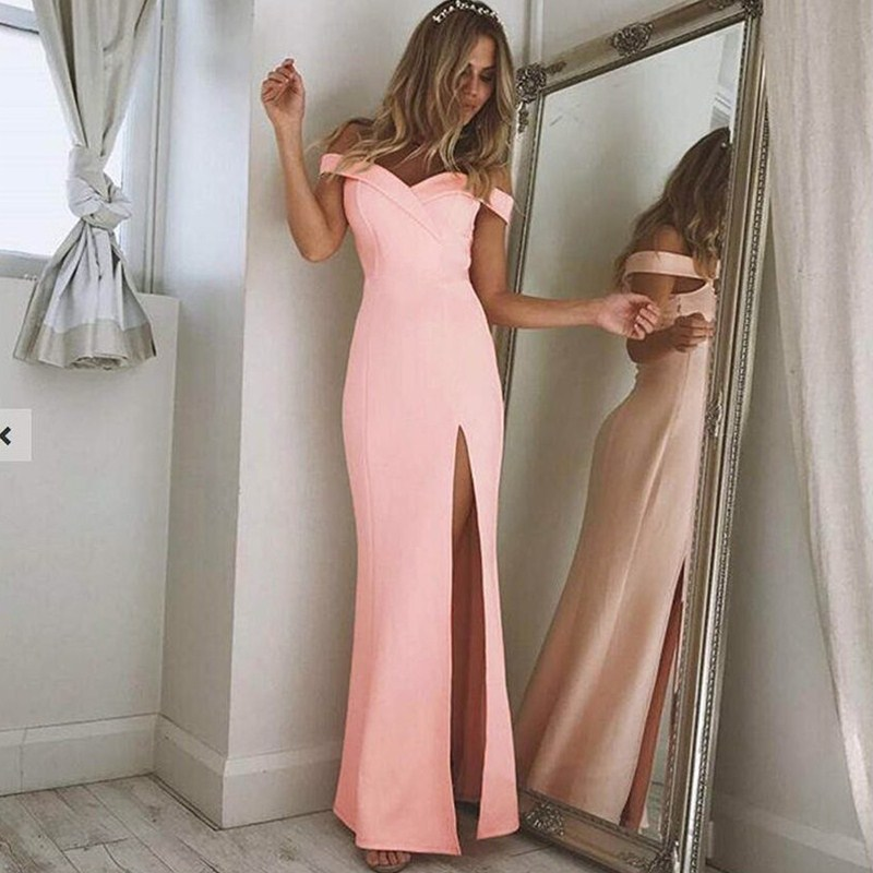Sexy Off Shoulder Long   Prom     Dresses   for African Black Girls 2019 Elegant Satin Vestido De Festa Cheap Plus Size Slit Party Gowns