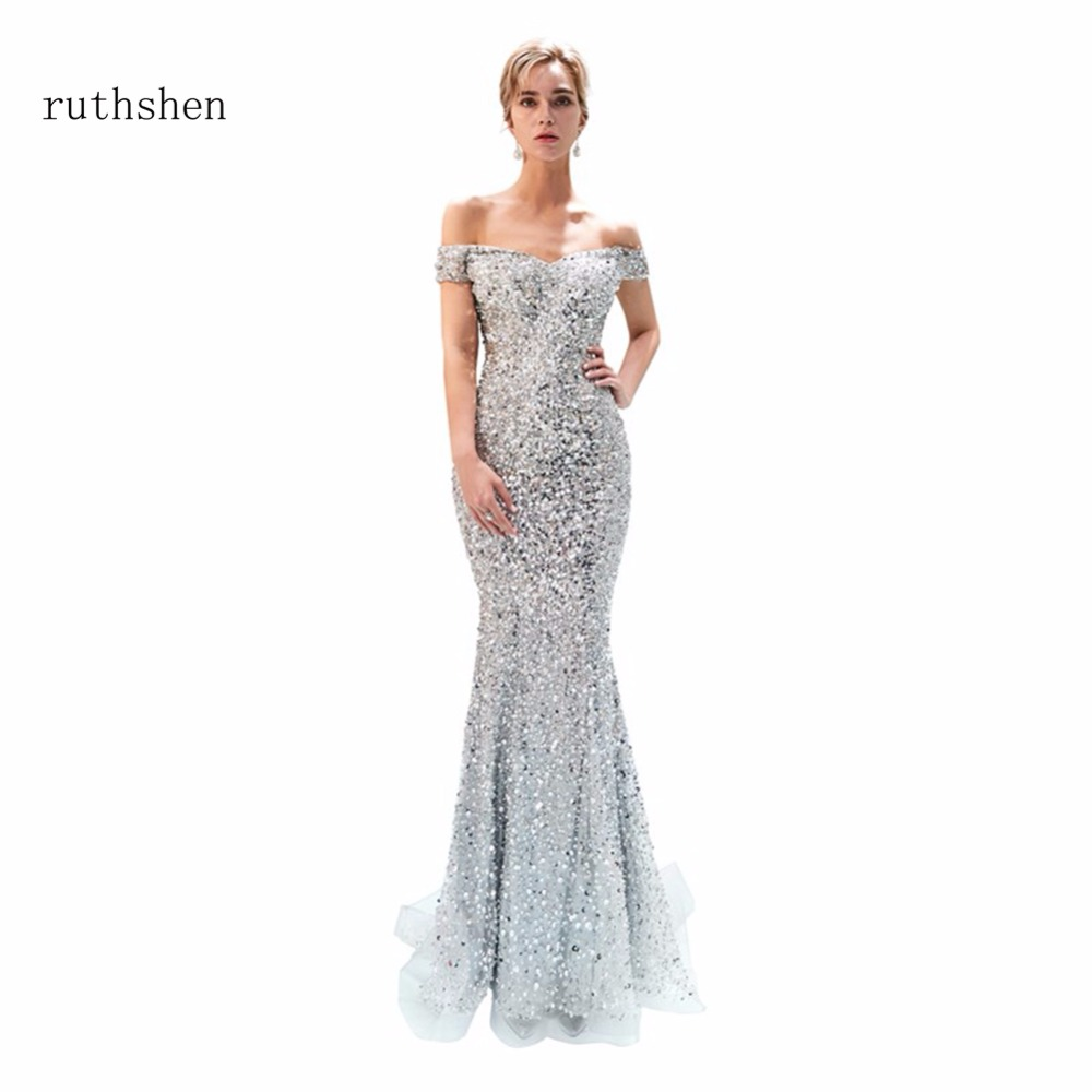 ruthshen Luxury Stock Sexy Boat Neck   Prom     Dresses   Long Short Sleeves Beads Off The Shoulder Evening Gowns 2018 Vestido De Noiva