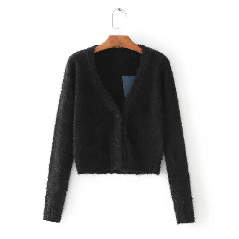 arrives 4fea4 cecaf US $16.14 5% OFF|LUNDUNSHIJIA 2017 Strickjacke Frauen Cashmere V ausschnitt  Mode Super Kurz Stil Design Schwarz Weiß Plüsch Pullover Frau-in ...