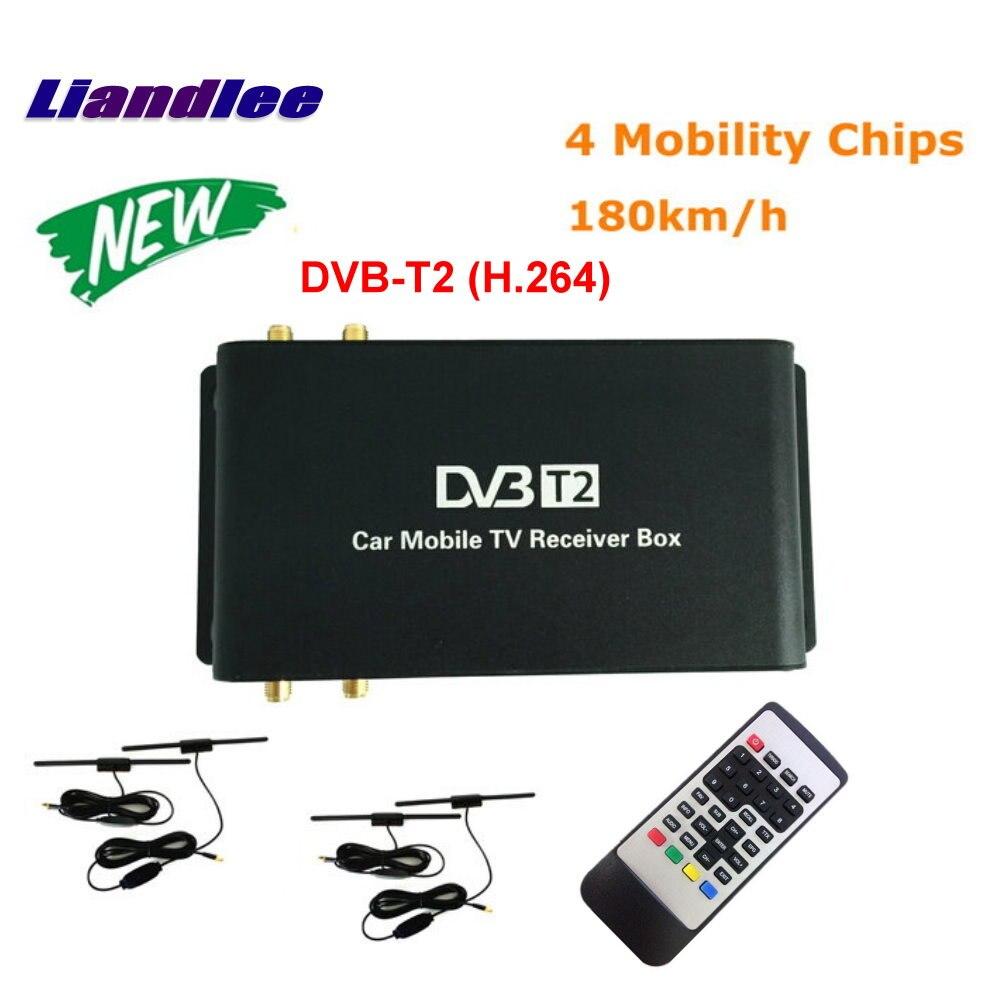 Liandlee HD 1080 P DVB-T2 (H.264) 4 Tuner Voiture Numérique TV Récepteur D-TV Mobile TV Box Antenne MPEG-4/Modèle DVB-T2-M-688-H264