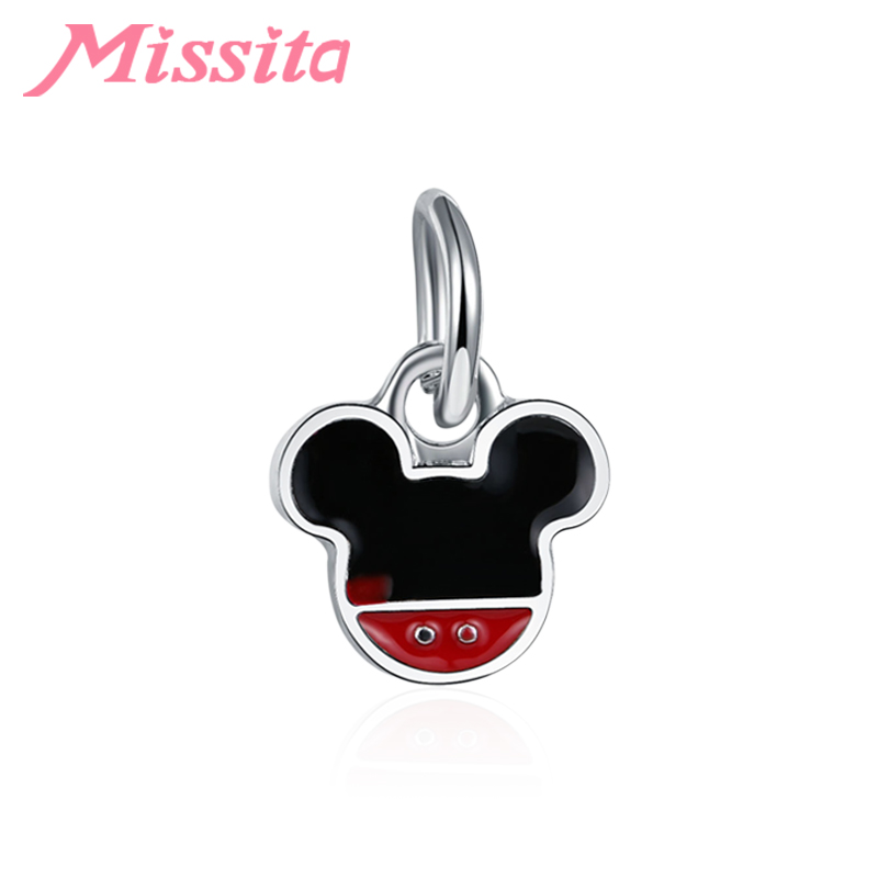 MISSITA Women Fashion Cute Mickey Charms fit Pandora Bracelets & Necklaces for Jewelry making Ladies Accessories