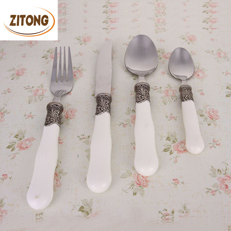 4 Pcs Ceramic Handle Flatware Set Tableware Dinnerware Knife Spoon Fork Cutlery Stainless Steel Free Shipping