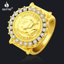 SAYYID nouvelle bague en or pour hommes et femmes hip-hop anneaux avec  napoléon III motif mosaïque tchèque forage bagues tendanc. 39b7f3d7e48