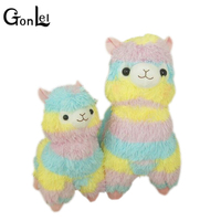 GonLeI Rainbow 1 Alpaca Vicugna Pacos Plush Toy Japanese Soft Plush Alpacasso Baby Plush Stuffed Animals