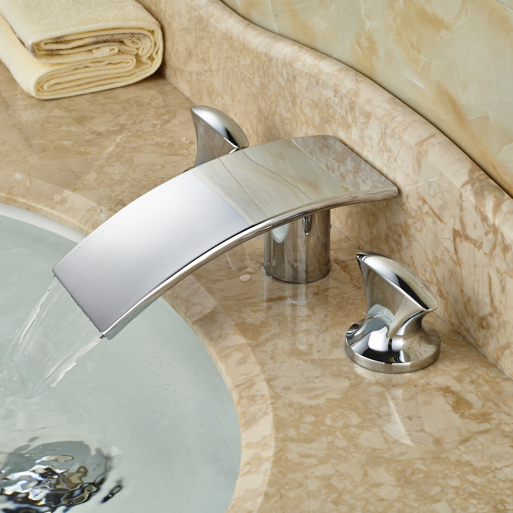 Waterfall Spout Bathroom Faucet: Chrome Brass Dual Handle Waterfall Curve Spout Bathroom