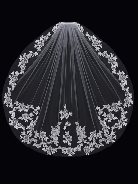 2017 New Arrival short Wedding Veils Lace wedding Veils Beauty Appliques Wedding Accessories veli da sposa