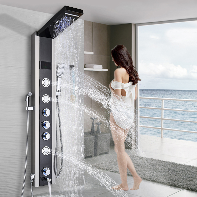 Style; Black/brushed Nickel Shower Panel Led Bathroom Bath Shower Column Tower Digital Screen Waterfall Rain Shower Mixers Massage Jets Fashionable In